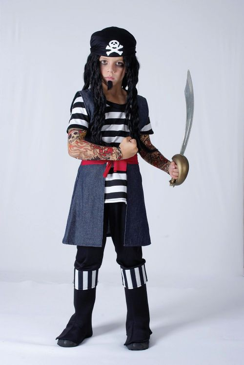 Childs Tattoo Pirate Boy Costume Buccaneer Sailor Jack Blackbeard Cosmetics